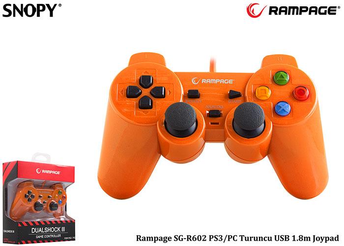 Snopy Rampage SG-R602 PS3/PC Turuncu USB 1.8m Joypad