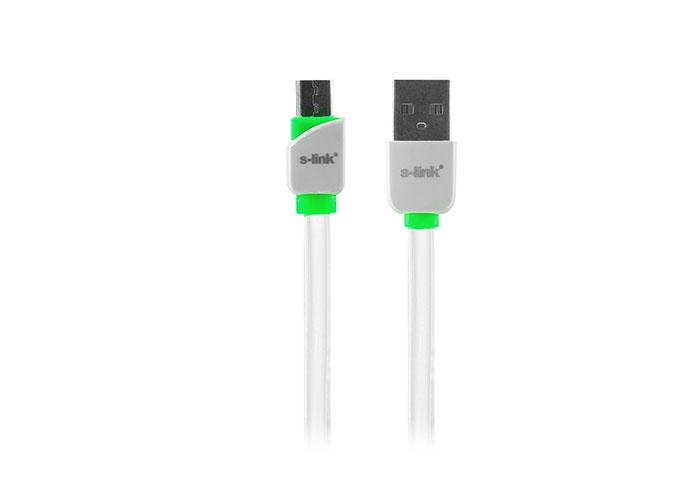 S-link SLP-506 Micro Usb Akıllı Telefonlar 1m Hızlı Şarj Beyaz Data + Şarj Kablosu