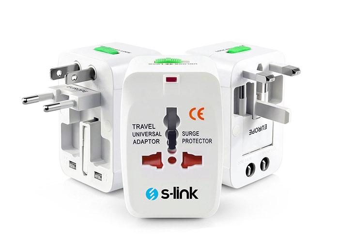 S-link SLX-04A Universal 1A 2*Usb Akım Korumalı Çevirici Priz Adaptör