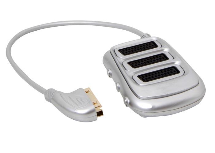 S-link SLX-SC33 SCART to 3 SCART Çoklayıcı Gümüş Nikel Uçlu Kablo