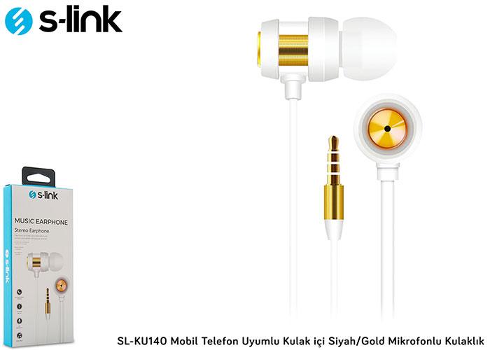 S-link SL-KU140 Mobil Telefon Uyumlu Kulak içi Siyah/Gold Mikrofonlu Kulaklık