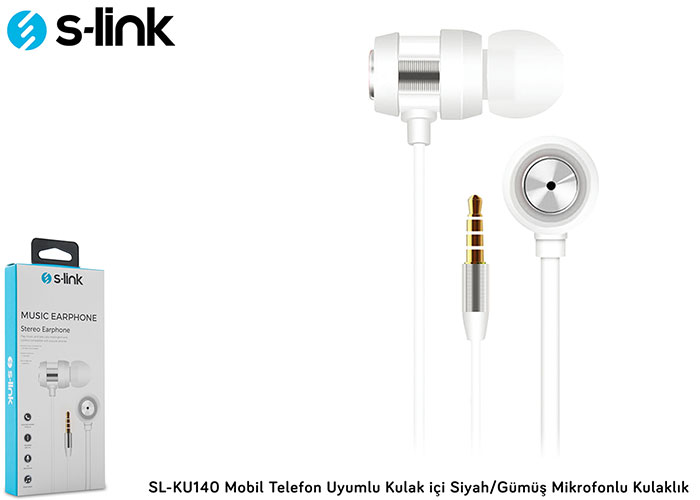 S-link SL-KU140 Mobile Phone Compatible In-ear White / Silver Headset with Microphone