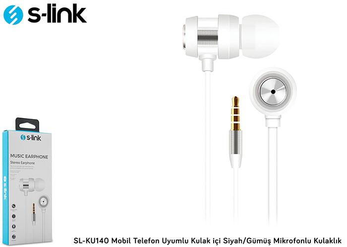 S-link SL-KU140 Mobil Telefon Uyumlu Kulak içi Beyaz/Gümüş Mikrofonlu Kulaklık