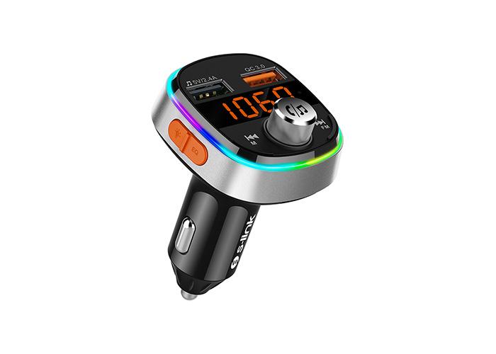 S-link SL-BT235 Rainbow Bluetooth V5 Led Ekran USB+TF Desteği Çift Usb QC3 Hızlı Şarj Fm Transmitter