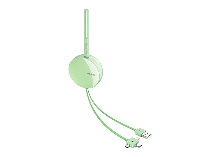 S-link SL-C2020 2.1A MicroUSB+Lightning+TypeC 3 in 1 Yeşil Aynalı Saklama Kablı Şarj Kablosu