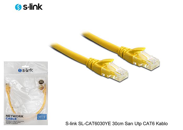 S-link SL-CAT6030YE 30cm Sarı Utp CAT6 Kablo