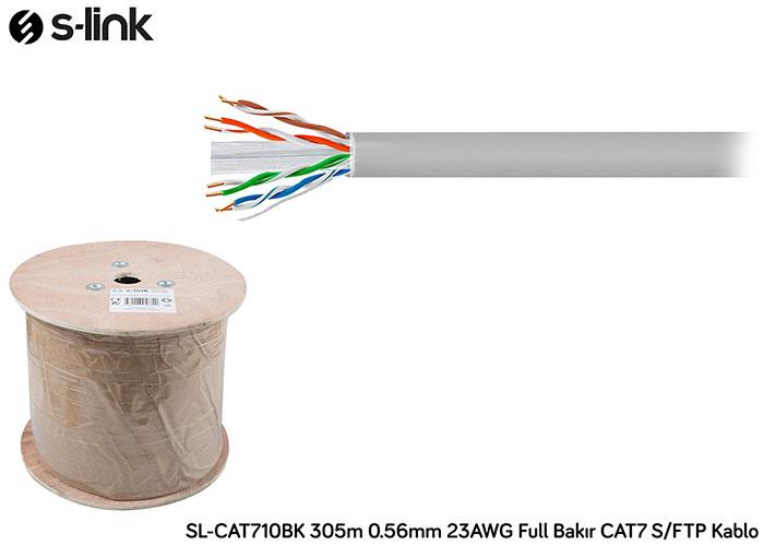 S-link SL-CAT710BK 305m 0.56mm 23AWG Full Bakır CAT7 S/FTP Kablo