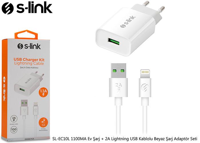 S-link SL-EC10L 1100MA Ev Şarj + 2A Lightning USB Kablolu Beyaz Şarj Adaptör Seti