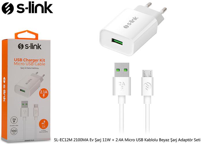 S-link SL-EC12M 2100MA Ev Şarj 11W + 2.4A Micro USB Kablolu Beyaz Şarj Adaptör Seti