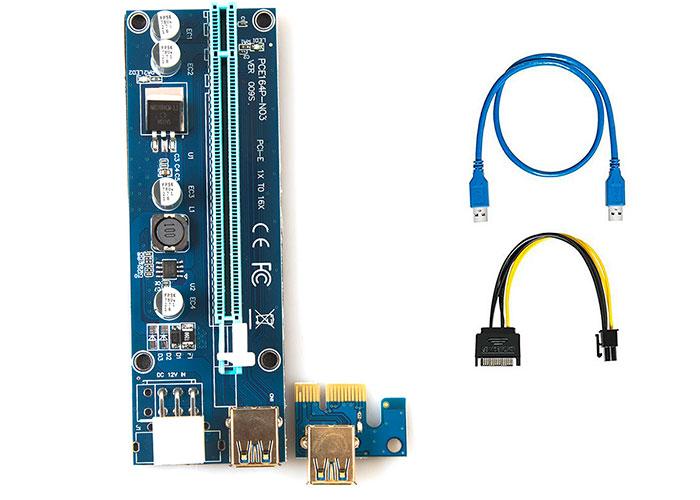 S-link SL-EX226 PCI-E 1x to 16x Sata 6pin Bitcoin Riser V9 Graphics CardRoader