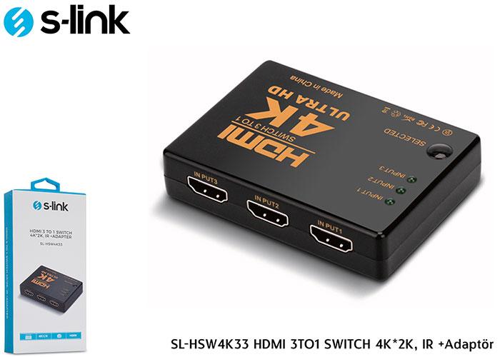 S-link SL-HSW4K33 HDMI 3TO1 SWITCH 4K*2K, IR +Adaptör