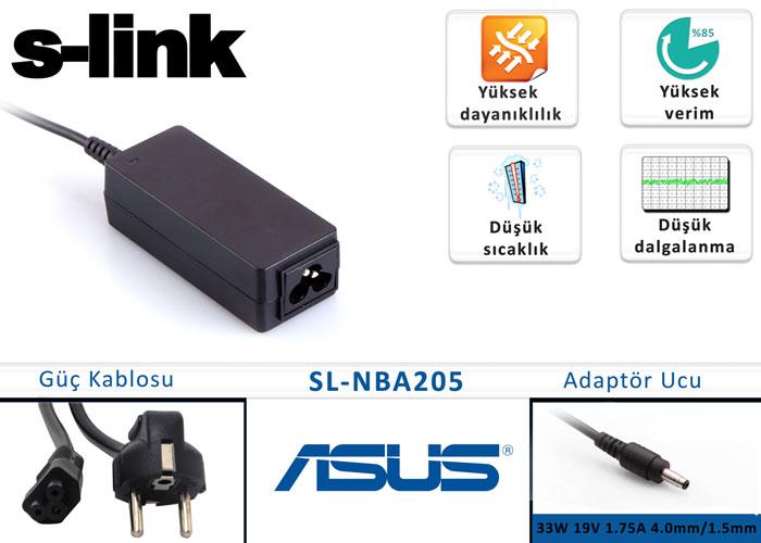 S-link SL-NBA205 33W 19V 1.75A 4.0mm/1.5mm Asus Ultrabook Standart Adaptör