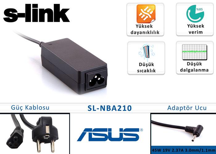 S-link SL-NBA210 45W 19V 2.37A 3.0mm/1.1mm Asus Ultrabook Standart Adaptör