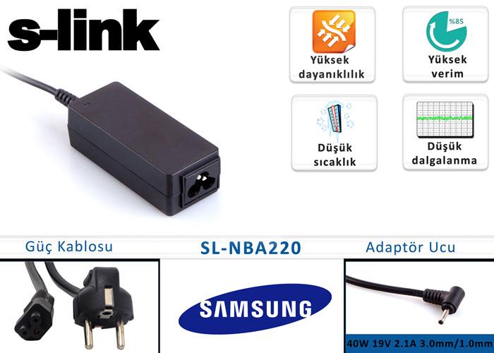 S-link SL-NBA220 40W 19V 2.1A 3.0mm/1.0mm Samsung Ultrabook Standart Adaptör