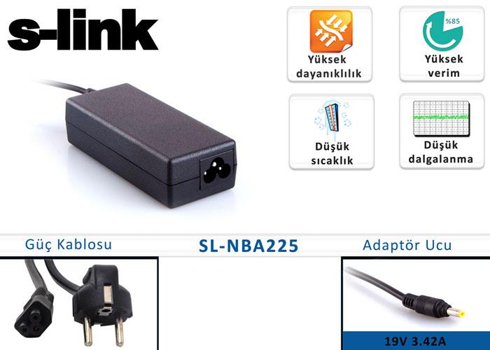 S-link SL-NBA225 19V 3.42A 1.7mm/4.0mm Standart Adaptör