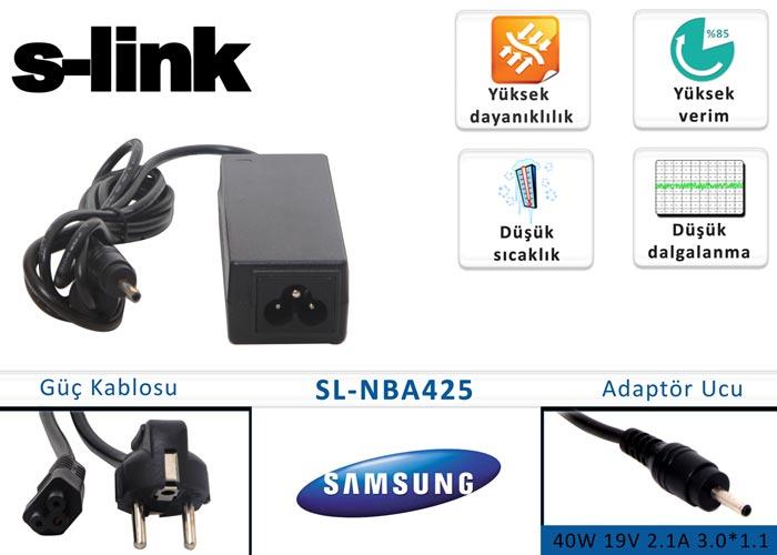 S-link SL-NBA425 40W 19V 2.1A 3.0*1.1 Samsung Notebook Standart Adaptör