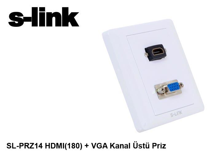 S-link SL-PRZ14 HDMI(180) + VGA Kanal Üstü Priz