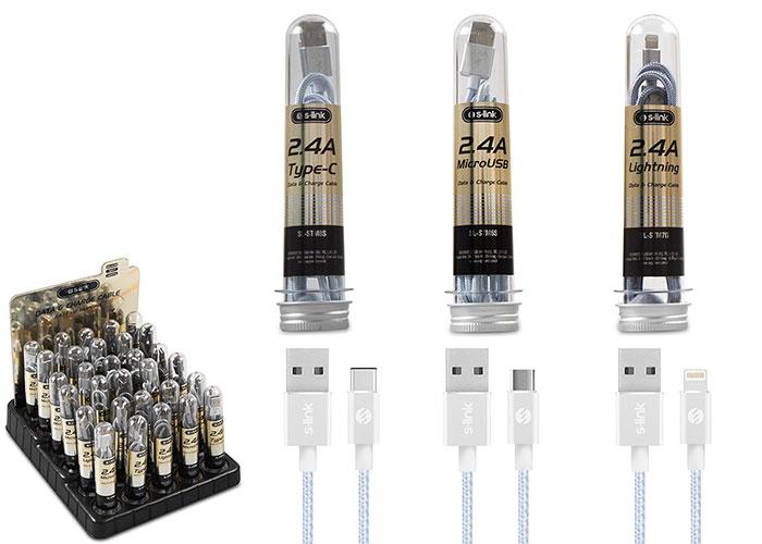 S-link SL-STM30 2.4A Fast Şarj 12xMicro 12xLightning 6xType-C 30lu Stantlı Metal Kablo Seti