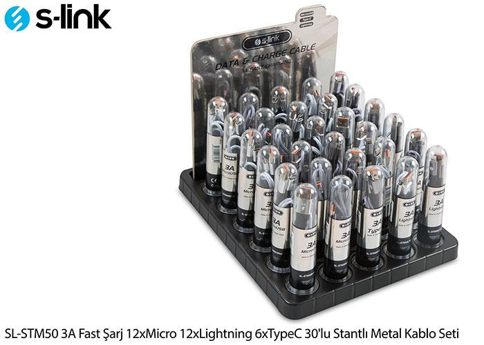 S-link SL-STM50 3A Fast Şarj 12xMicro 12xLightning 6xTypeC 30lu Stantlı Metal Kablo Seti