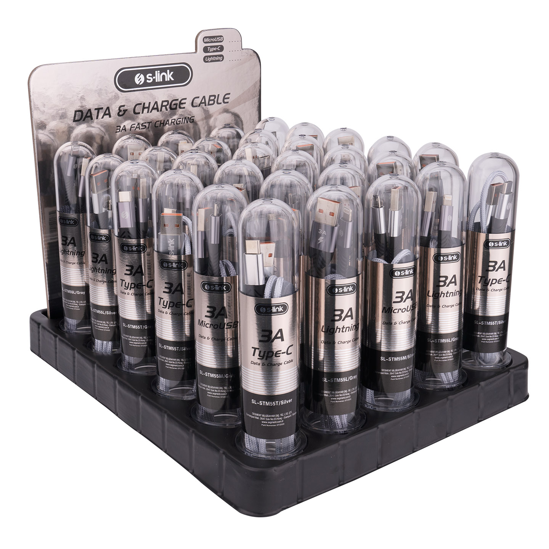 S-link SL-STM55 3A Fast Şarj 10xMicro + 10xLightning + 10xTypeC 30lu Stantlı Metal Kablo Seti