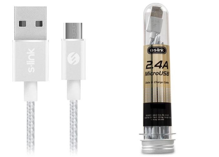 S-link SL-STM6G 2.4A Micro USB Metal Gri Data+Şarj Kablosu