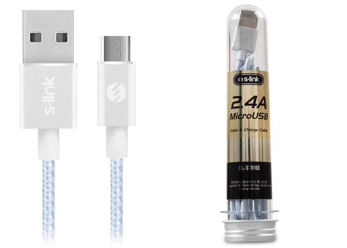 S-link SL-STM6S 2.4A Micro USB Metal Gümüş Data+Şarj Kablosu