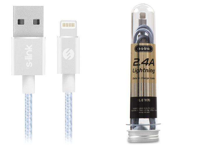 S-link SL-STM7G 2.4A Lightning Metal Gri Data+Şarj Kablosu