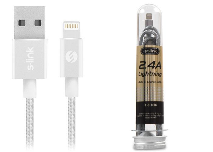S-link SL-STM7S 2.4A Lightning Metal Gümüş Data+Şarj Kablosu