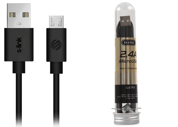 S-link SL-STP1B 2.4A Micro USB Siyah Data+Şarj Kablosu