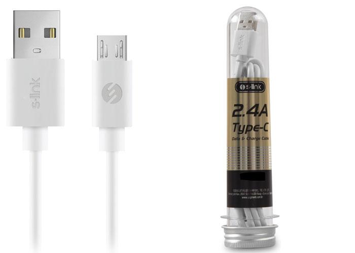 S-link SL-STP1W 2.4A Micro USB Beyaz Data+Şarj Kablosu