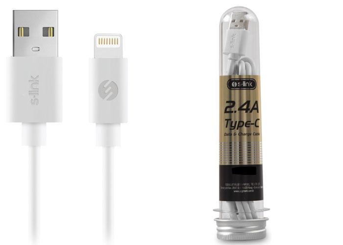 S-link SL-STP3W 2.4A Lightning Beyaz Data+Şarj Kablosu