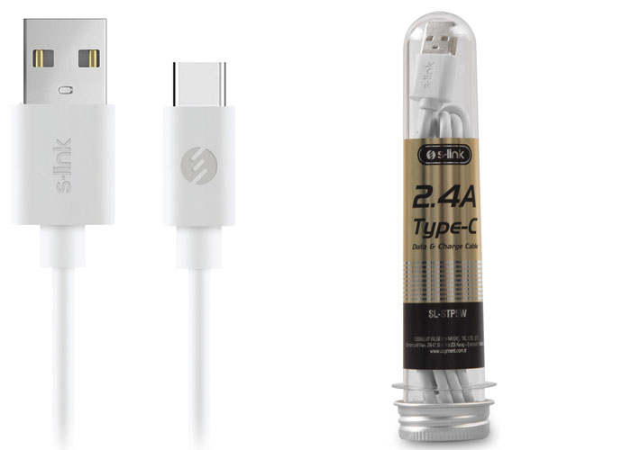 S-link SL-STP5W 2.4A Type-C White Data + Charging Cable