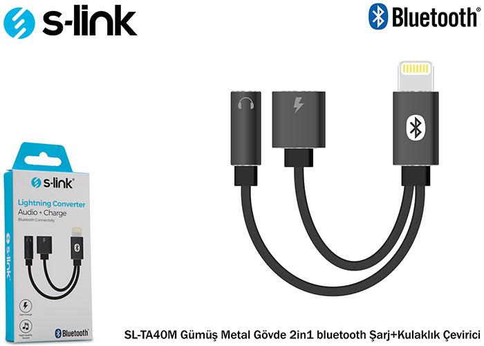 S-link SL-TA40M Gri Metal 2in1 bluetooth Şarj+Kulaklık Çevirici