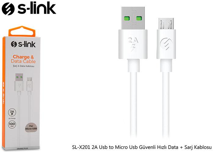 S-link SL-X201 2A Usb to Micro Usb Güvenli Hızlı Data + Sarj Kablosu