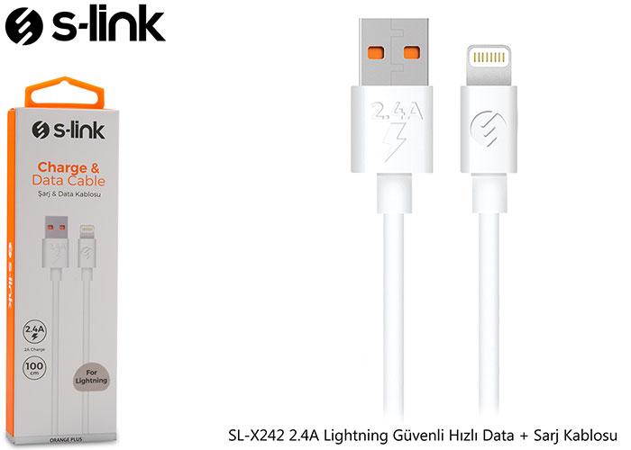 S-link SL-X242 2.4A Lightning Güvenli Hızlı Data + Sarj Kablosu