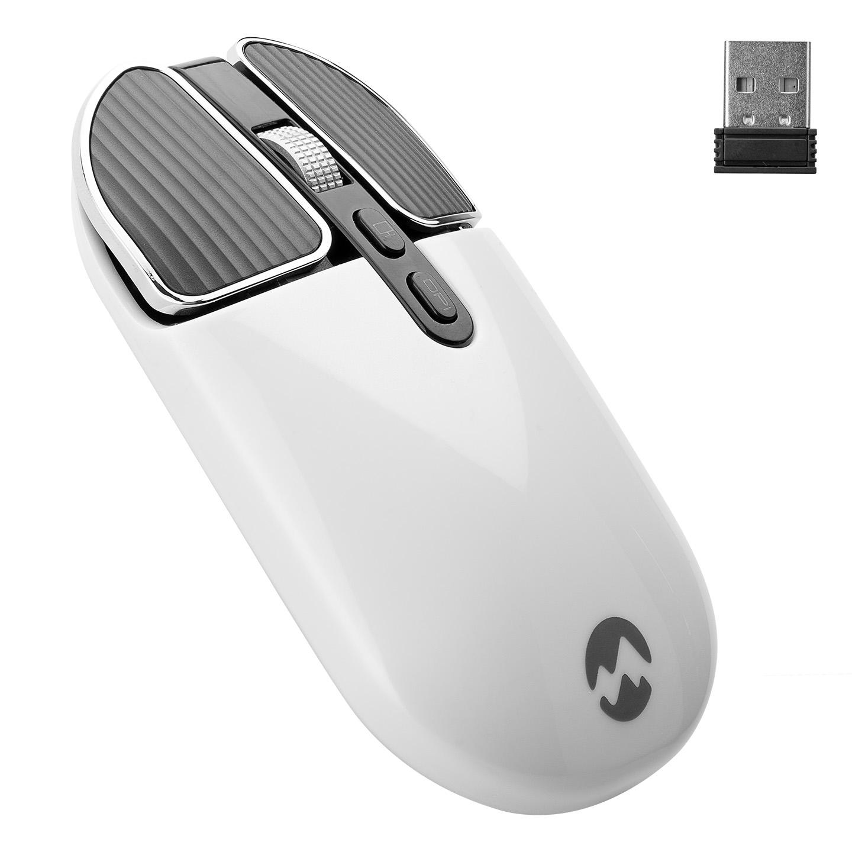 Everest SM-619 1600dpi Süper Sessiz Metalik Beyaz Şarj Edilebilir Premium Kablosuz Mouse