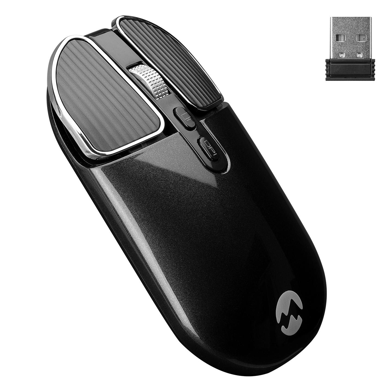 Everest SM-619 Metalik Siyah 1600dpi Süper Sessiz Şarjlı Premium Kablosuz Mouse