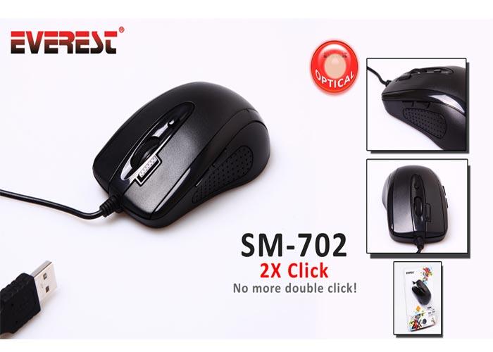 Everest SM-702 Usb Siyah 5 Fonksiyon Tuşlu Double Click Mouse