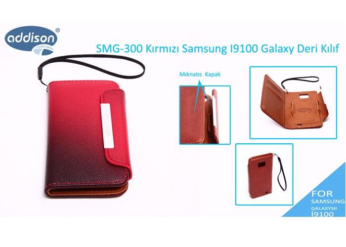 Addison SMG-300 Açık Kırmızı Samsung I9100 Galaxy Deri Kılıf