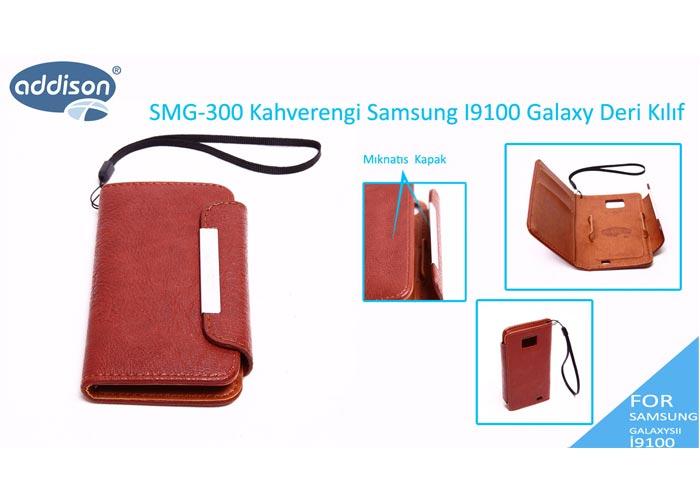 Addison SMG-300 Kahverengi Samsung I9100 Galaxy Deri Kılıf