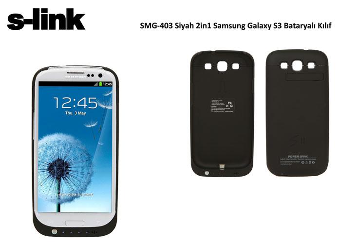 S-link SMG-403 Siyah Bataryalı Kılıf 2in1 Samsung Galaxy S3