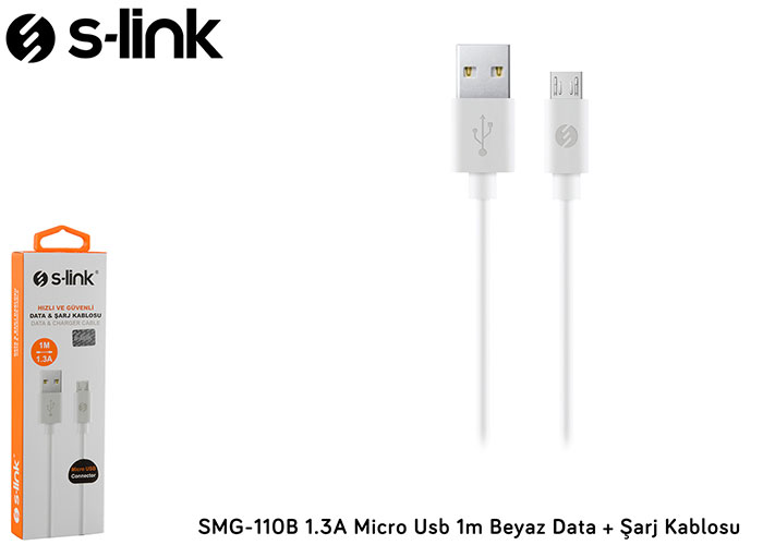 S-link SMG-110B 1.3A Micro Usb 1m Beyaz Data + Şarj Kablosu