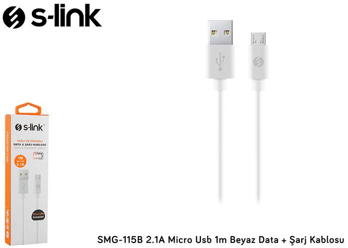 S-link SMG-115B 2.1A Micro Usb 1m Beyaz Data + Şarj Kablosu