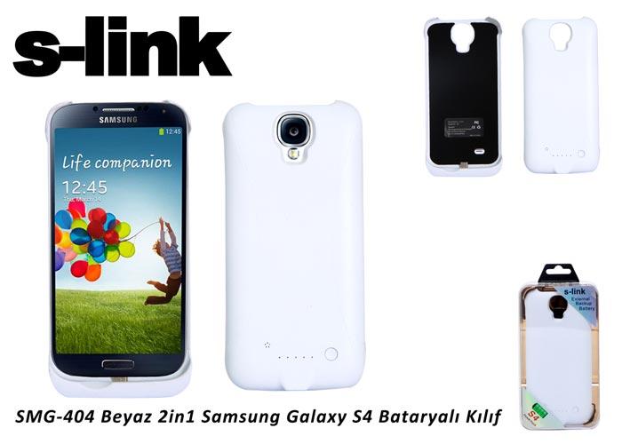 S-link SMG-404 Beyaz 2in1 Samsung Galaxy S4 Bataryalı Kılıf