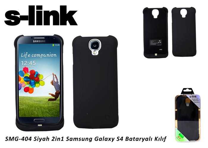 S-link SMG-404 Siyah 2in1 Samsung Galaxy S4 Bataryalı Kılıf