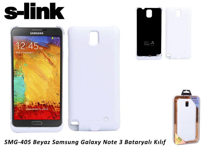 S-link SMG-405 Beyaz Samsung Galaxy Note 3 Bataryalı Kılıf