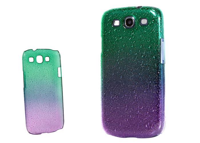 Addison SMG-438 Yeşil/Mor Su Damla Desenli Samsung Galaxy S3 Kılıfı