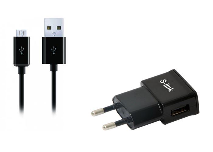 S-link SMG-441 1.3A Micro Usb Akıllı Telefonlar 2 in 1 Ev Şarjı ve Siyah Kablosu