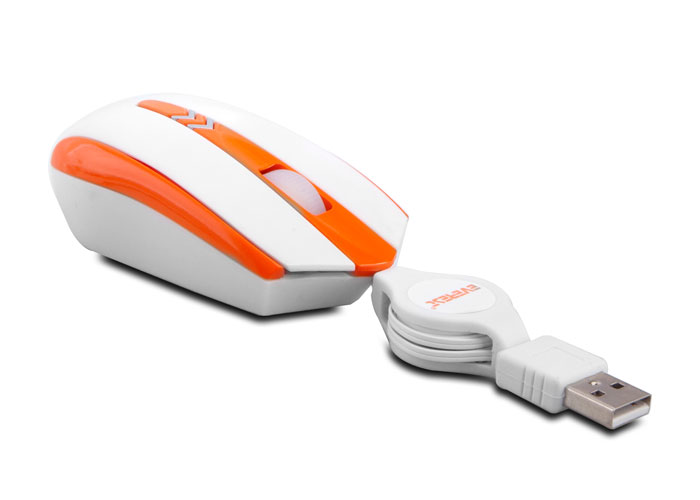 Everest SM-421 Usb Parlak Beyaz/Turuncu Optik Makaralı Mouse