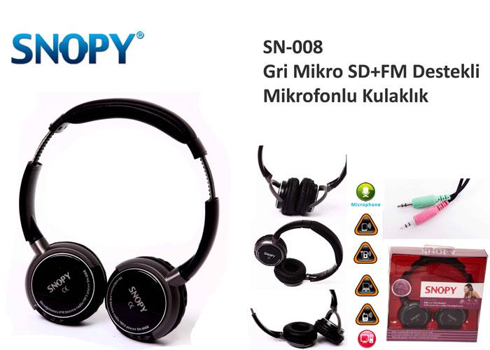 Snopy SN-008 Gri Mikro SD+FM Destekli Mikrofonlu Kulaklık